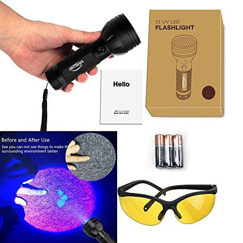 ASITSUMA UV flashlight 51 LED Ultraviolet Black light Pet Urine Detector For Dog/Cat Urine,Dry Stains,Bed Bug, Matching with Pet Odor Eliminator (3AA Batteries Included)