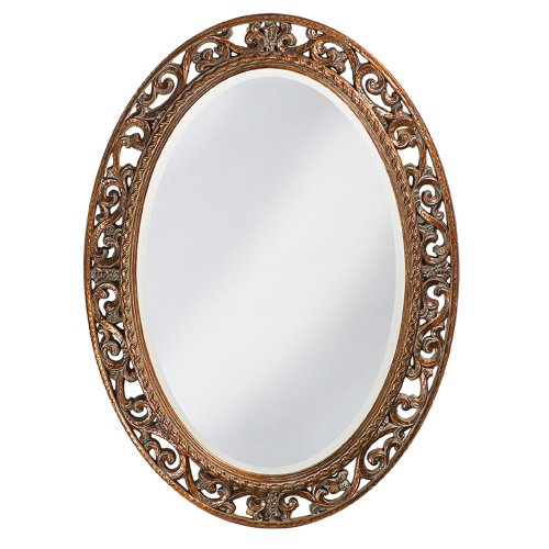 Gold Traditional Frame - Howard Elliott Suzanne Mirror, Oval Antique Gold Leaf, Resin Frame