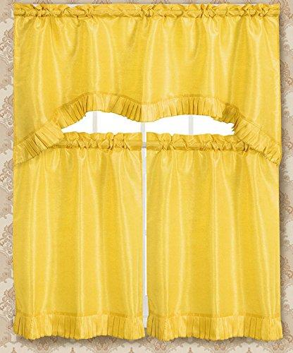 Bermuda Collection - RT Designers Collection Bermuda Ruffle Kitchen Curtain Tier Set, Lemon,