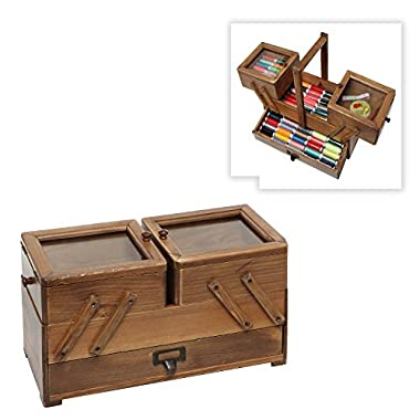 Rustic Wooden Desktop Jewelry Storage Organizer / Cosmetic Carrying Case / Craft Supplies Box w/ Handle