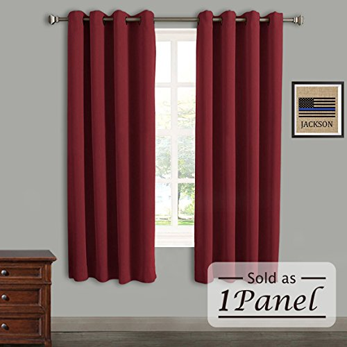 Rose Home Fashion RHF Blackout Thermal Insulated Curtain - Antique Bronze Grommet Top for bedroom or living room, Grommet curtain, Sold as 1 panel,52W by 84L Inches-Burgundy by Rose Home Fashion