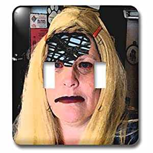 Jos Fauxtographee Holiday - A Blonde Halloween Wig on a Woman With Part of Her Skull Cut Out and Electrical Post Inside - Light Switch Covers - double toggle switch (lsp_52579_2)