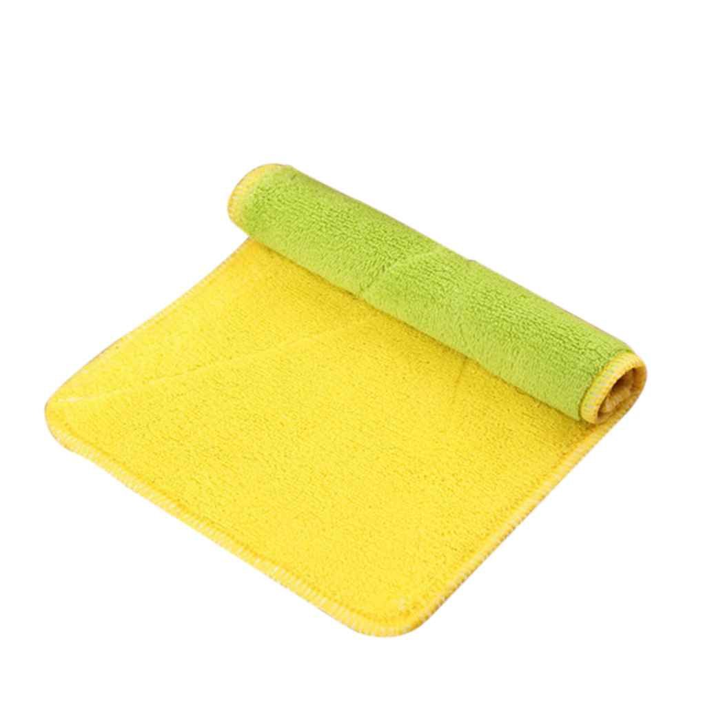 Omkuwl Double-sided Microfiber Dish towels Thickening Cloth Dish Nonstick Oil Absorbent Kitchen Towelsgreen&yellow by Omkuwl (Image #1)