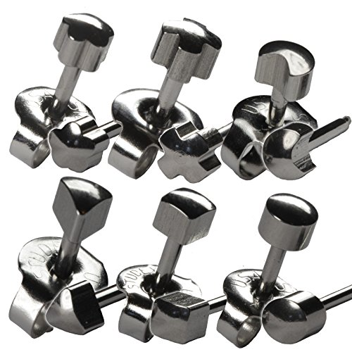 6 Pairs 4mm Stainless Steel Shapes Set #2 Studex 16ga Ear Piercing Earrings Hypoallergenic ()