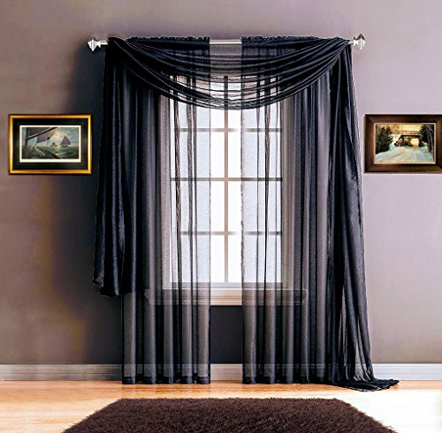 Navy Blue Four (Warm Home Designs Pair of Premium Quality 54 x 72 Inch Sheer Navy Blue Faux-Linen Rod Pocket Curtains. Total Width of These Affordable Drape Panels is 108