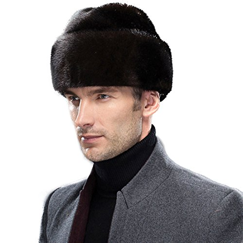 URSFUR Men's Genuine Mink Fur Russian Cossack Hat Caps by URSFUR