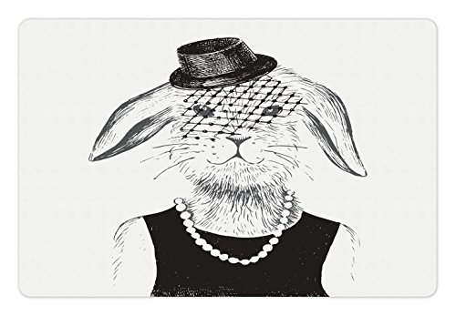 Modern Pet Mats for Food and Water by lunarable, Rabbit Girl with Pearls Vintage Hat Hipster Comic Cute Retro Bunny Graphic, Rectangle Non-Slip Rubber Mat for Dogs and Cats, Charcoal - Comics Hipster