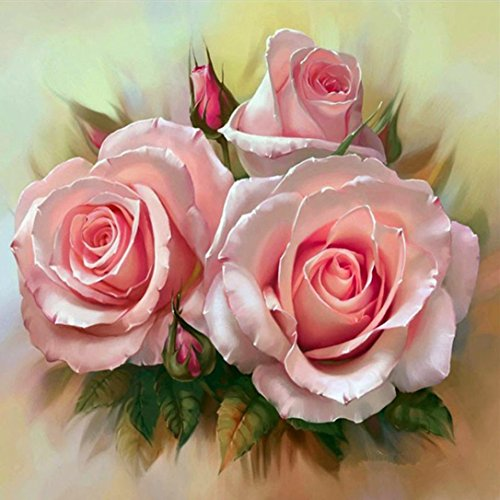 Wall Hanging 5D Diamond Picture, Vmree DIY Rhinestone Embroidery Painting Crystals Pasted Handcraft Cross Stitch Handiwork Kits Visual Arts for Home Decor (Pink Rose, 30x30 cm)