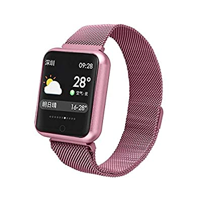 Sports IP68 Smart Watch P68 Fitness Bracelet Activity Tracker Heart Rate Monitor Blood Pressure for iOS Android Apple iPhone 6 7 (Silica Pink)