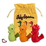 Fishy Squishies, 3 Pack, Soft Slow Rising Kawaii Squishy Toys, Convenient Toddler Travel Bag and Keychain Carabiner Included, Cute Silly Squishy's, Seahorse Toy Characters, Green, Orange, Red