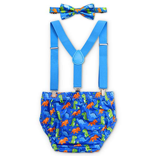 (Baby Boy Dinosaur Cake Smash Outfit First Birthday Bloomers Bowtie Adjustable Y Back Suspenders Strap Clip Little Dino Costume Diaper Cover Clothes)