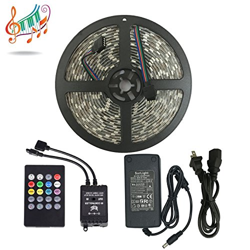 Music Controlled LED Strip Light, SurLight Waterproof 16.4ft/5M 300LEDs RGB SMD5050 Flexible Color Changing Light Strip Kit with 20 Key IR Music Controller & 12V 5A Power Supply for Indoor Outdoor Use