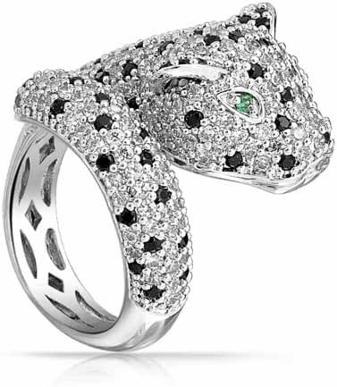 Bling Jewelry Simulated Emerald CZ Eye Panther Animal Ring Rhodium Plated