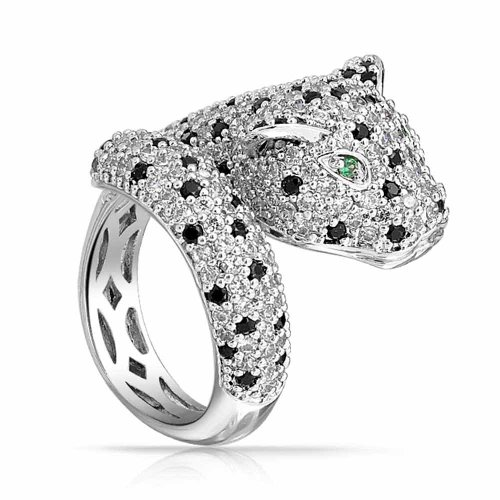 Bling Jewelry Green Eye Black White Cubic Zirconia CZ Fashion Leopard Panther Cat Statement Bypass Ring for Women Silver Plated Brass