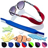Baby Glasses and Sunglasses Strap 2pk | Active Kids with Bonus Stickers (Blue + Red)