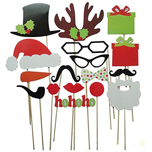 Factory Direct Sale (Pack of 17) Funny DIY Photo Booth Props Mustache Glasses Snowflake Gift On A Stick Wedding Birthday Christmas Xmas Party Family