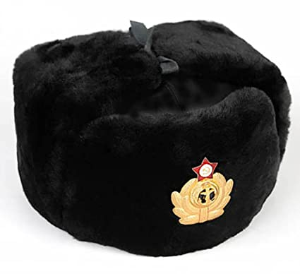 9067dfd4c96 BLACK RUSSIAN FUR USHANKA WINTER GENUIN WOOL COLD WAR BLACK NAVY S HAT CAP  WITH BADGE.