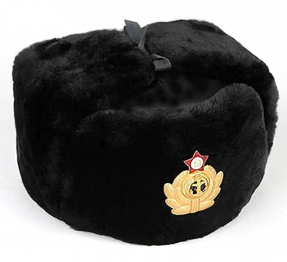 38dd936bd9f9 BLACK RUSSIAN FUR USHANKA WINTER GENUIN WOOL COLD WAR BLACK NAVY'S HAT CAP  WITH BADGE. SIZE 58-59(L) / 56-57(M) (60 - 61 EU): Amazon.co.uk: Clothing