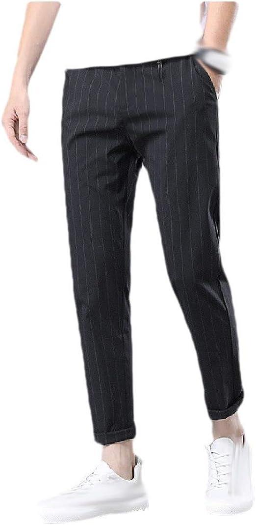 Tootess ポケット付きメンズストレートカジュアルルーズストライプビジネスドレスパンツ