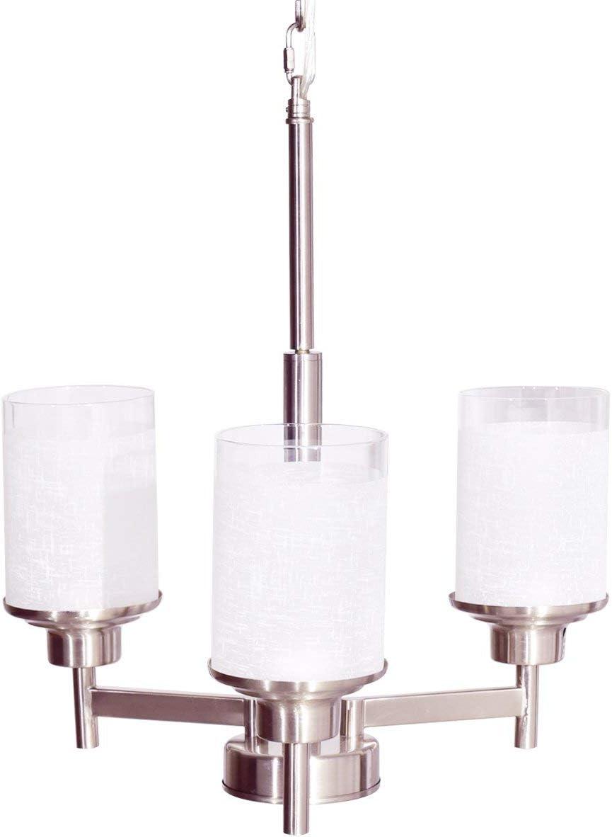 Tangkula Chandelier Home Hall Living Room Modern Pendent Light Ceiling Lamp Brushed Nickel, 3 Lights