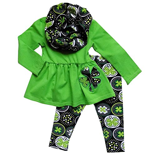 So Sydney Toddler Girls 3 Pc ST. Patrick's Day Shamrock Scarf Holiday Outfit (M (4T), Lime & Black ST. Pat)