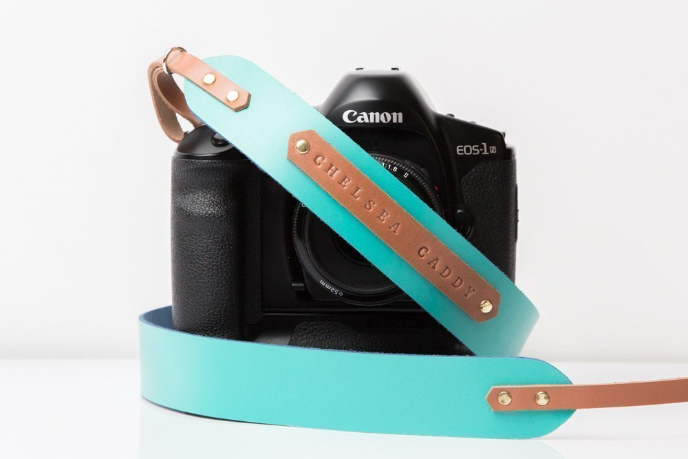 Engraved leather camera strap in turquoise with tan color Personalized camera strap for Canon Nikon Sony Fuji Olympus