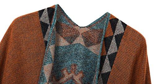 Urban CoCo Women's Printed Tassel Open front Poncho Cape Cardigan Wrap Shawl (Orange-series 5) by Urban CoCo (Image #2)