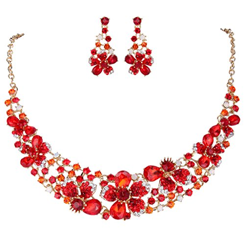 EVER FAITH Gold-Tone Austrian Crystal Hibiscus Flower Necklace Earrings Set Red