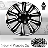 New Design 15 inch ABS Plastic Hubcaps Mat Black Color with Silver Accents Wheel Covers Hub Cap Full Lug Skin Set 546 with Air Freshener