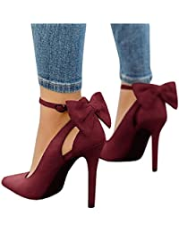 Womens Pointed Toe High Heels Bowtie Back Ankle Buckle Strap D'Orsay Dress Pumps Shoes