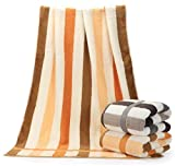 Vska Fade-Resistant Easy Care Ideal for everyday use Skin-friendly Striped Fast Drying Ultra Absorbent Cotton Antibacterial Bath Towel Set AS2 70140cm