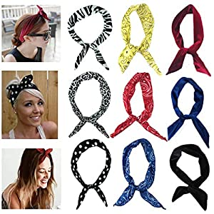 MSCOLOG 8pcs Fashion Adult Floral Headbands Cloth Thin Workout/Yoga/Running/Soccer Hair Wraps Headbands for Women