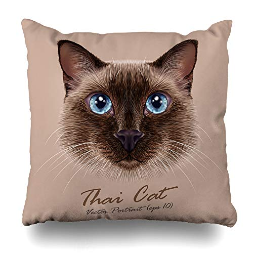 - ArTmall Throw Pillow Case Breed Blue Face Illustrative Thai Cat Cute Ears Seal Point Siamese Wildlife Nature Design Purebred Zippered Pillowcase Square Size 18 x 18 Inches Home Decor Cushion Covers