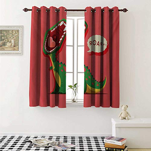 - shenglv Dinosaur Blackout Draperies for Bedroom Aggressive Prehistoric Cartoon Animal Roaring Open Mouth Wildlife Image Curtains Kitchen Valance W72 x L63 Inch Coral Green Yellow
