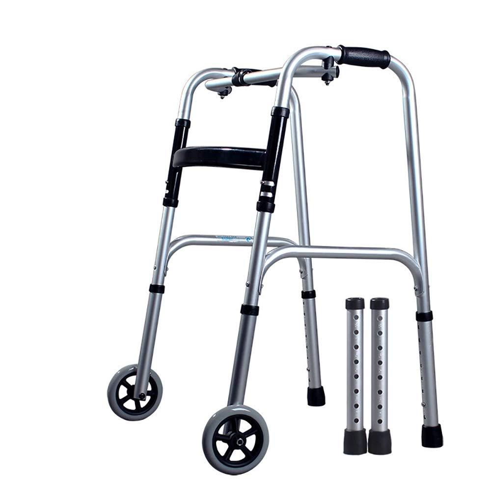 Height 8 Adjustable, one-Button Folding, with Wheels, Anti-Slip Elderly Walker. Silver (Size : Walker)
