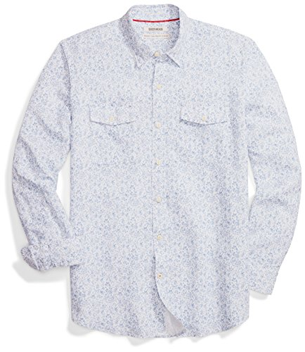 - Goodthreads Men's Standard-Fit Long-Sleeve Linen and Cotton Blend Shirt, Blue Floral, Large