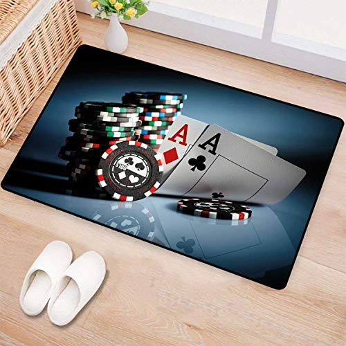 Poker Tournament Decorations,Door Mats,Gambling Chips and Pair Cards Aces Casino Wager Games Hazard,Bath Mat Bathroom Mat with Non Slip,Multicolor 16
