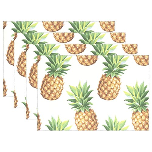 - LoveBea Cute Summer Pineapple Placemats Table Mat one Piece, Table Mats Kitchen Dining Room Polyester 12 x 18 Inches