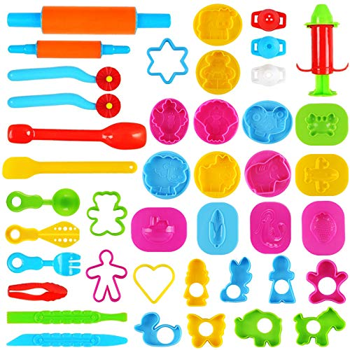 3 otters Clay Dough Tools Kit, 39 PCS Clay Tools for Kids Play Doh Accessories Dough Tools Kit with Models and Molds