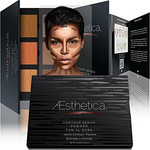 Aesthetica Contour Series - Tan to Dark Powder Contour Kit / Contouring and Highlighting Makeup Palette; Vegan and Cruelty Free - Easy-to-Follow Step-by-Step Instructions Included (Anastasia Makeup Kit)