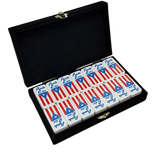 Marion White Double Six Domino in Velvet Box with Puerto Rico Flag Engraved