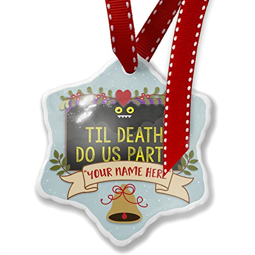 Add Your Own Custom Name, Til Death Do Us Party Halloween Funny Bat Christmas Ornament NEONBLOND