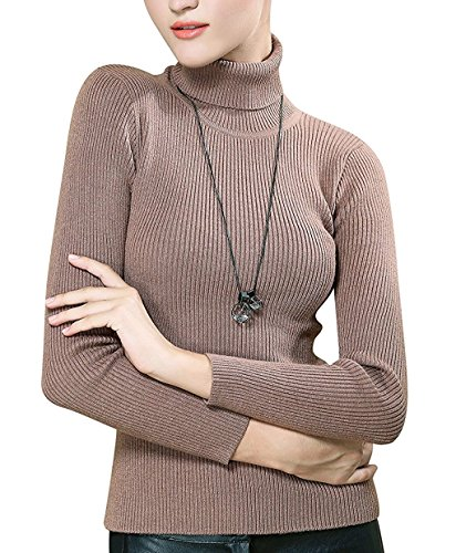 (Fengtre Turtleneck Pullover Sweater, Women's Cashmere Stretchy Basic Cozy Knit Top,Khaki S)