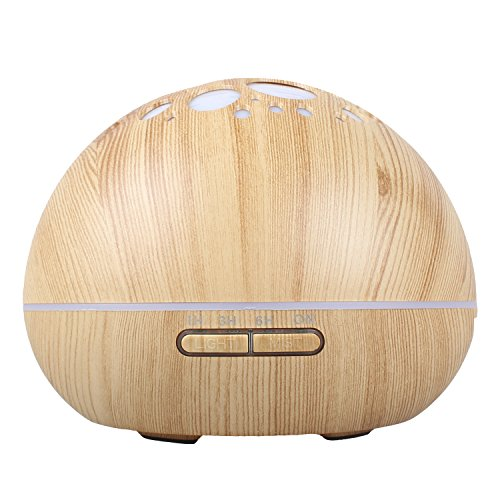 Essential Oil Diffuser,Bayka 300ml Natural Wood Grain Cashew Nut Shape, Aroma Purifier Ultrasonic Humidifier for Room Waterless Auto Shut-off 4 Timer settings With 7 LED (Bed Cashew)