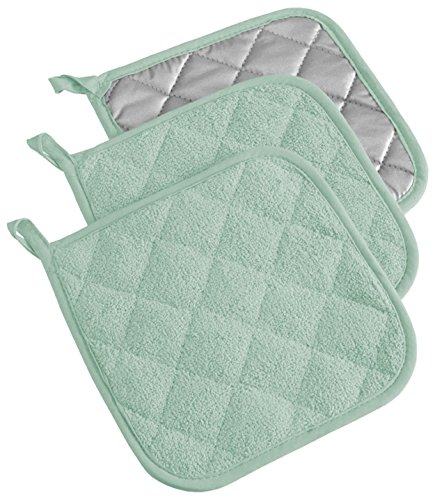 CC Home Furnishings Set of 3 Mint Green and Silver Colored Square Potholders with Loop 7