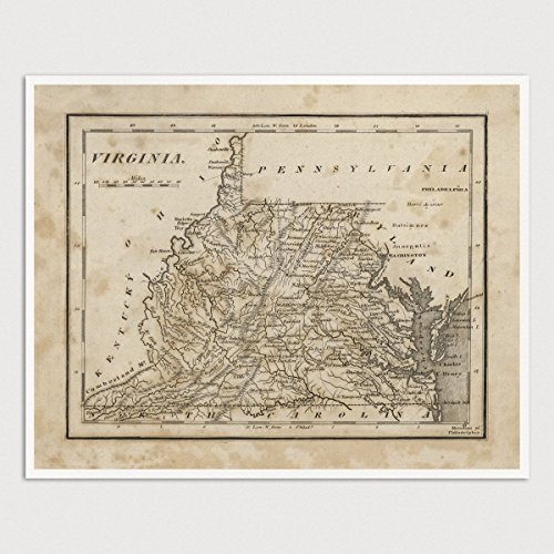Old Virginia and West Virginia Map Art Print Archival Reproduction