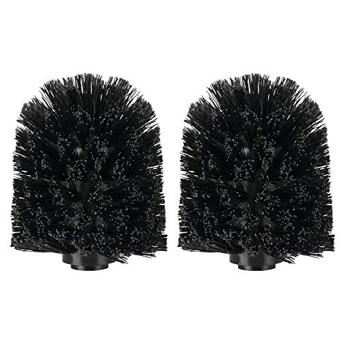 mDesign Replacement Toilet Bowl Brush Head, Easy Screw-On Design for Bathroom Storage - Sturdy Stiff Bristles Make Deep Cleaning Simple - 2 Pack - -