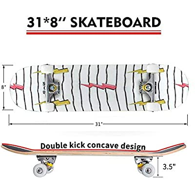 Classic Concave Skateboard Lightning Bolts and Stripes Seamless Pattern Children Comic Book Longboard Maple Deck Extreme Sports and Outdoors Double Kick Trick for Beginners and Professionals : Sports & Outdoors