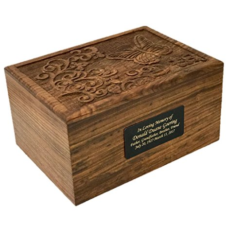NWA Urns for Human Ashes, Adult Size Hard Wood Human Cremation Urn with Butterfly- Custom Engraved