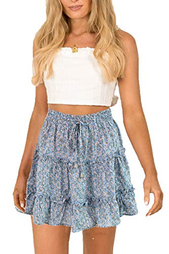 (SimpleFun Womens Ruffle Aline Short Skirts Casual Flower Mini Skirts Plus Size Blue)